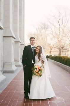 Real Bride Christianne, Nancy Barrus Custom Couture, Lace ballgown with sleeves, Modest ball gown, Modest wedding dress