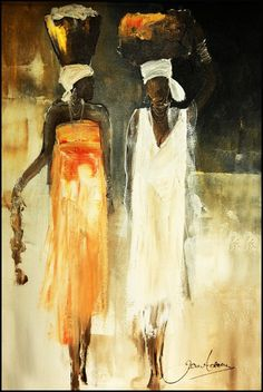 African Paintings Oil Painting - Freinds by Jen Adam