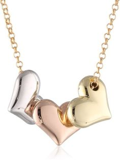 Bonded Sterling Silver And 14k Tri-Color Gold Hearts Pendant Necklace , 17 from Picsity.com