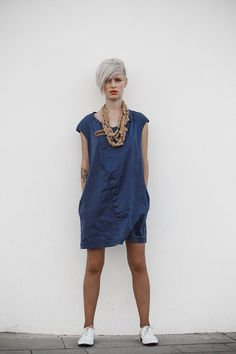 A line dark blue stone washed cotton denim mini dress, jeans dress by jenfashion via etsy