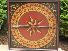 Primitive Roulette Wheel of Chance Game Board Folk Art Antique Reproduction