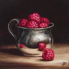 Silver Cup & Raspberries, J Palmer Daily painting Original oil still life Art