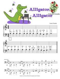 Here is a link to all 7 of the Animal Alphabet songs and the teacher piano part