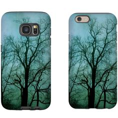 Blue and Black Trees Phone Case, iPhone SE 6 6S Plus, Galaxy S5 S6 S7,... ($35) ❤ liked on Polyvore featuring accessories and tech accessories