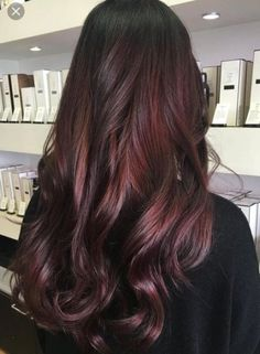 Black Hair 45 Shades of Burgundy Hair: Dark Burgundy, Maroon, Burgundy with Red, Purple and Brown Highlights Dark Burgundy Hair Color Hair Color Dark, Ombre Hair Color, Hair Color Balayage, Cool Hair Color, Hair Highlights, Burgundy Highlights, Burgundy Balayage, Color Red, Hair Colors