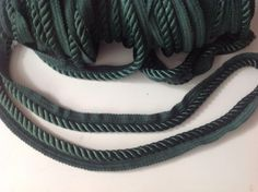 Vintage trim, twisted cord, dark green, up to 10 yds by Mywaycrochet on Etsy