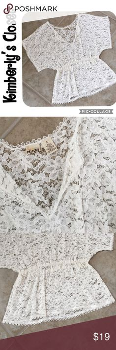 "🛍MUDD Lace Top🛍 MUDD sheer lace top.  Ivory color.  Beautiful crocheted edge details. Size large but runs small - measures 13.5"" across waist (elastic does stretch larger); 24"" long from top of shoulder to bottom.  Excellent condition. Mudd Tops"