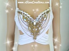 White and Gold and Glam Design Custom Bra par cRaveCreationsPLUR