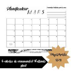 Planificateur du mois de mars 2016 (noir et blanc) imprimable