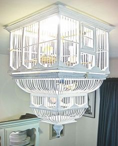 upside down birdcage on the ceiling!