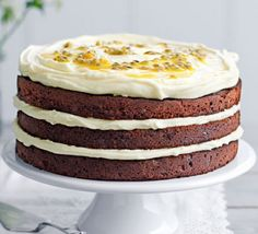 Chocolate layer cake with passion fruit icing