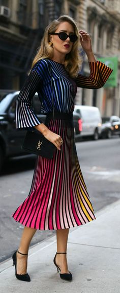 Striped multicolored long sleeve sweater, coordinating striped pleated multicolored midi skirt, gold sculptural earrings and black ankle-strap pumps {Kenzo, M2Malletier, fall fashion, colorful dressing, midi skirt, classic dressing, classy style}