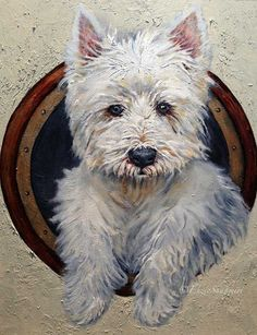 Custom Pet Portrait of Westie 9x12 in by EnzieShahmiriDesigns
