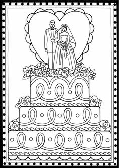 Valentines Coloring Page Wedding Cake