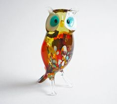 Art Glass Owl Figurine Glass Figure Glass Figurine by artexport, $16.49