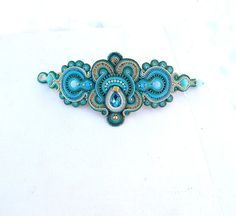 Unique Statement Soutache Bracelet - Deep Teal and Turquoise Cuff Bracelet , Handmade Soutac he Jewelry , Statement Handmade Bracelet