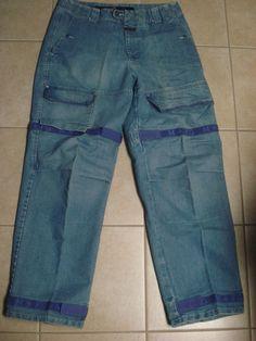 Mens Marithe Francois Girbaud Cargo Blue Jeans 36 X 33 Purple Shuttle Tape Baggy #MaritheFrancoisGirbaud #BaggyLoose
