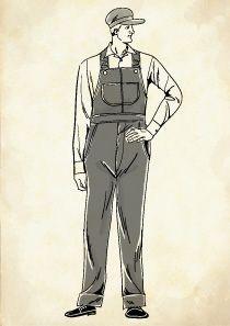 ワークキャップをかぶったアメリカの鉄道作業員の男性のイラスト