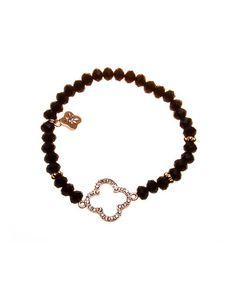 Fara  Romantic Clover Charm Bracelet in Black
