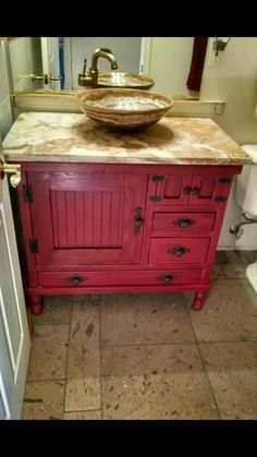Bathroom Vanity In Red Distressed Cabinets Bathroom