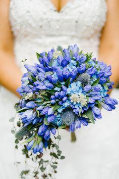 Unique blue wedding bouqet