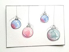 4 Easy DIY Watercolor Christmas Cards