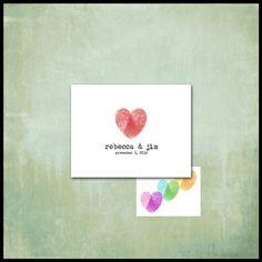 Fingerprint Heart Note Cards / Couple Stationery / Custom Heart Colors