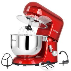 CHEFTRONIC Stand Mixer tilt-head Electric kitchen Mixer with Stainless Bowl, Wire whip, Dough hook, Flat beater, Flex edge beater splash guard Baking Appliances, Specialty Appliances, Small Appliances, Kitchen Appliances, Best Stand Mixer, Stand Mixer Recipes, Stand Mixers, Kitchen Aid Mixer, Kitchen Tools