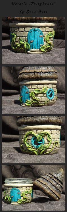 polymer clay - fimo - jar fairy house 5