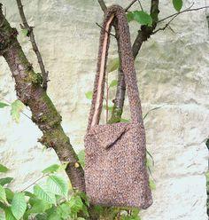 Chunky knit brown tweed wool shoulderbag by RosesWorkshop on Etsy