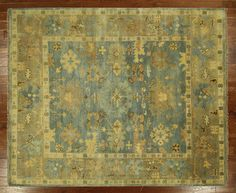 New Turkish Oushak Hand Knotted Wool 8' X 10' Maya Blue oriental Area Rug H5553 #Manhattanrugs #TraditionalPersianOriental $1351