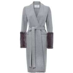 Amanda Wakeley Grey Wool Coat With Shearling Sleeves (2,370 CAD) ❤ liked on Polyvore featuring outerwear, coats, fur & shearling, neutral, gray coats, wool coats, fur-trimmed coats, leather-sleeve coats and sheep fur coat