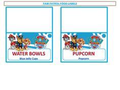 Boys Parties :: Paw Patrol :: Paw Patrol Food Labels & Drink Station Poster Printable