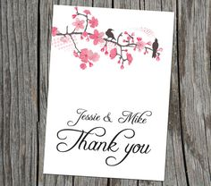 Pink Flowers & Birds DIY Thank you card for weddings.