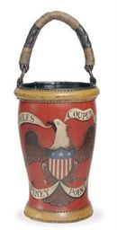 AN AMERICAN PAINT-DECORATED LEATHER FIRE BUCKET,  STAMPED 'S LALIOFF MCMXLVIII' ON THE UNDERSIDE  20in. (50.8cm.) high