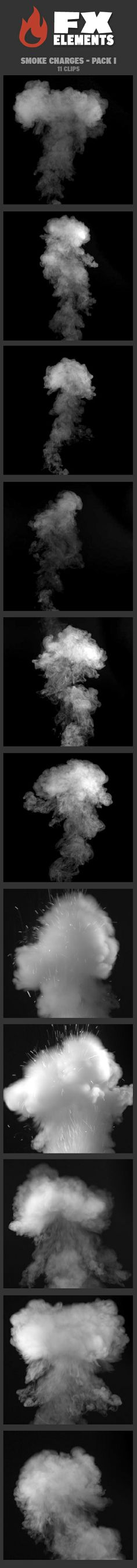 Smoke Charges - Pack I includes 11 FX clips. Smoke charges work well for smoke releases, or for explosions, especially when paired with pyro charges. They can also be easily inverted for black smoke. • All clips delivered with a separate corresponding alpha file • 5 clips horizontal 2K resolution (2048 x 1152) • 6 clips vertical 2K resolution (1152 x 2048) | $49 | #VFX #FxElements