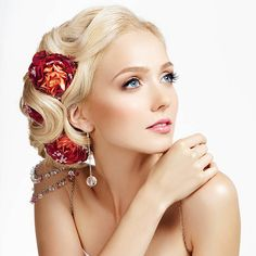 Beauty portrait, hairstyle with roses stock photo