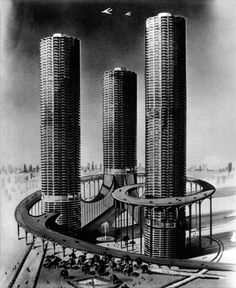 Erroneous 1960 sketch of Marina City from the Chicago Daily News