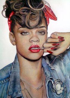 Rihanna by ghosthorror - color pencil drawing   First pinned to Celebrity Art board here... http://www.pinterest.com/fairbanksgrafix/celebrity-art/ #Drawing #Art #CelebrityArt