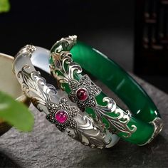 Online Shop LouLeur 925 sterling silver jade bangles silver green white handmade natural jade bangles fashion jewelry for women charms Silver Bangles, Sterling Silver Bracelets, Bangle Bracelets, Silver Earrings, Gold Necklace, Jade Jewelry, Silver Jewelry, Women Jewelry, India Jewelry
