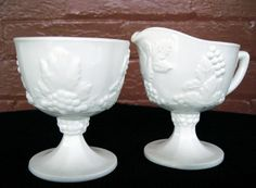 Indiana Colony Milk Glass White Harvest Grape Sugar Bowl & Creamer Pitcher #ColonyIndianaGlass