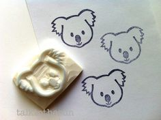 hand carved rubber stamp by talktothesun. australian animal stamp series for your diy crafts. stamp it + color it on gift wraps + fabrics. Clay Stamps, Make Your Own Stamp, Eraser Stamp, Australian Animals, Australian Opal, Christmas Baby Shower, Baby Koala, Stamp Carving, Feltro