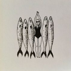 Geffen Refaeli is great! Photo Vintage, Art Moderne, Art Graphique, Fish Art, Art And Illustration, Art Inspo, Printmaking, Cool Art, Art Drawings