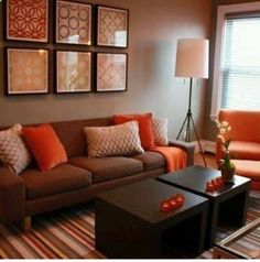 cozy living room, brown couch decor, ladder, winter decor | living