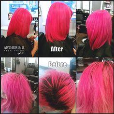 The Fuchsia / Cut and Color by Arthur of #ArthurandD #HairSalon  #EastVillage #Manhattan #NYCHair #NYCSalon #PinkHair #FuchsiaHair #BrightPink #MermaidHair #ArthurandDHairSalon #nyc #manhattan #beforeandafter #womenscut #womenshaircut #classic #edgy #lob #nycstylist #nyclife #nychairdresser #nychairstylist #modernsalon #americansalon