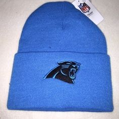 NFL Logo Carolina Panthers Knit Beanie Pom Pom Winter Hat Blue Black  Embroidered  f87e98177
