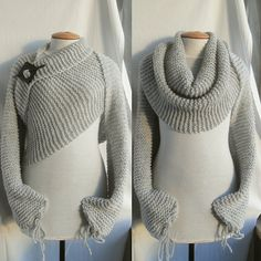 Scarf shawl poncho with sleeves in light grey