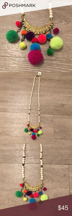 5129989855d white wood beaded necklace with pom poms white wood beaded necklace with pom  pom pendant Jewelry Necklaces