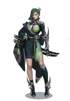 Female warrior with katanas. Female Character Concept, Fantasy Character Design, Character Inspiration, Character Art, Dnd Characters, Fantasy Characters, Female Characters, Chica Fantasy, Fantasy Girl