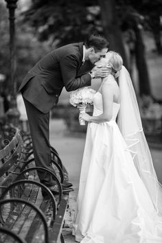 Newlyweds Kiss in Central Park